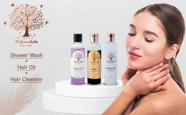Shower Wash, Hair Cleanser & Hair Oil Combo Offer